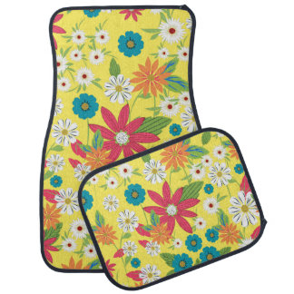 Cute trendy girly soft colours floral pattern car mat