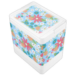 Cute trendy girly soft colours floral pattern igloo cooler