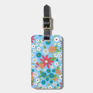 Cute trendy girly soft colours floral pattern luggage tag