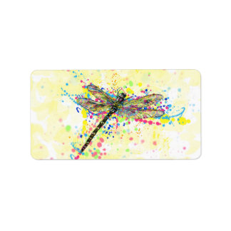 Cute trendy girly watercolor splatters dragonfly address label