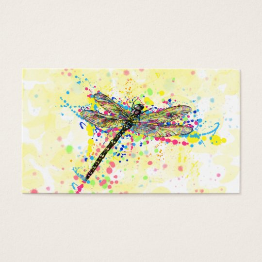 Cute trendy girly watercolor splatters dragonfly business card