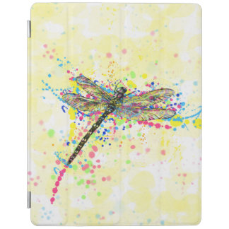 Cute trendy girly watercolor splatters dragonfly iPad cover