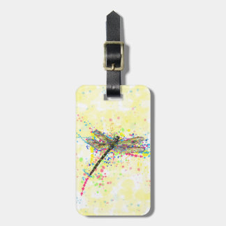 Cute trendy girly watercolor splatters dragonfly luggage tag