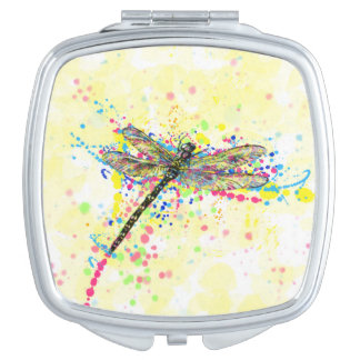 Cute trendy girly watercolor splatters dragonfly mirror for makeup