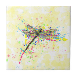 Cute trendy girly watercolor splatters dragonfly small square tile