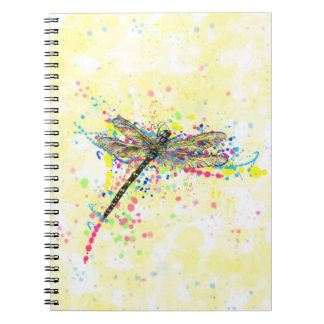 Cute trendy girly watercolor splatters dragonfly spiral notebook