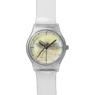 Cute trendy girly watercolor splatters dragonfly watch