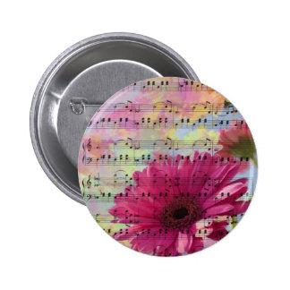 Cute trendy girly watercolours Gerbera flowers 6 Cm Round Badge