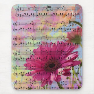 Cute trendy girly watercolours Gerbera flowers Mouse Mat