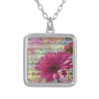 Cute trendy girly watercolours Gerbera flowers Silver Plated Necklace