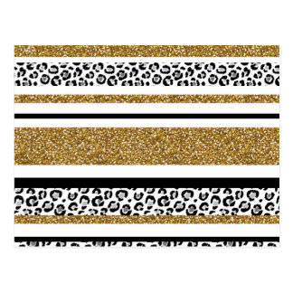 Cute trendy  gold faux glitter leopard stripes postcard