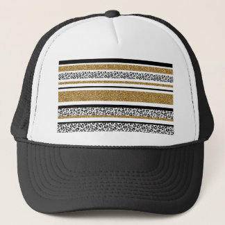 Cute trendy  gold faux glitter leopard stripes trucker hat