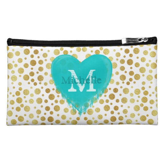 Cute trendy golden doted pattern with monogram cosmetic