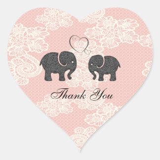 Cute trendy lace Elephants in love Heart Sticker