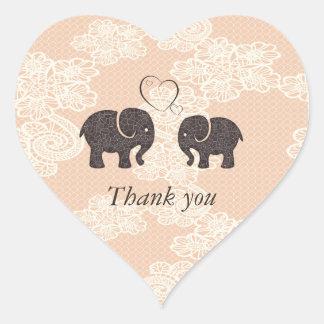 Cute trendy lace Elephants in love Sticker