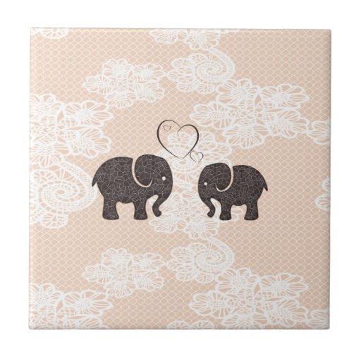 Cute trendy lace Elephants in love Ceramic Tiles