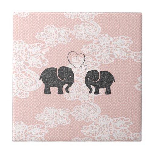 Cute trendy lace Elephants in love Ceramic Tile