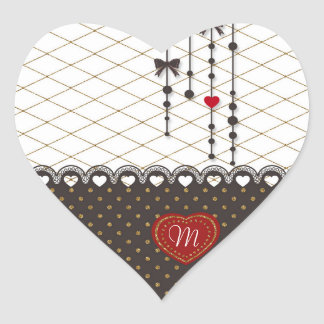 Cute trendy lace faux gold glitter strokes pattern heart sticker