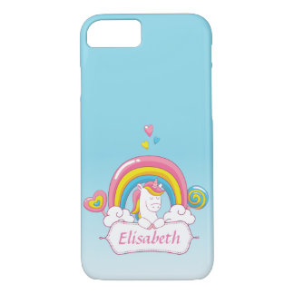 Cute Trendy  Magical Unicorn Custom  gradient blue iPhone 8/7 Case