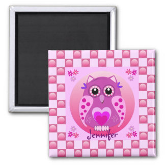 Cute, trendy magnet with Owl, hearts & patterns