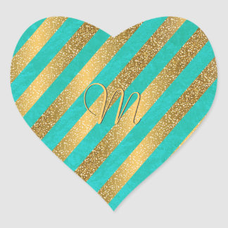 Cute trendy monogram stripes faux gold glitter heart sticker