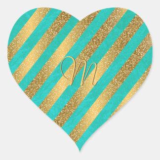 Cute trendy monogram stripes faux gold glitter heart sticker
