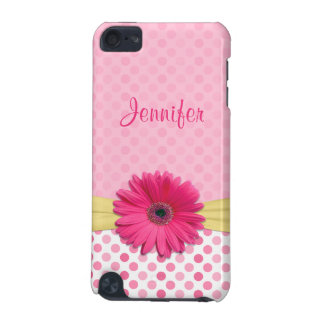Cute Trendy Pink Gerbera Daisy Polka Dot iPod Touch 5G Covers