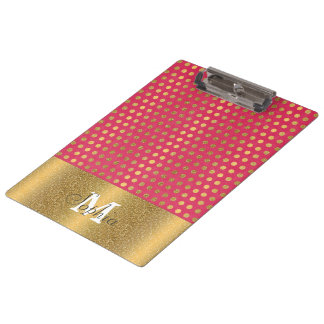 Cute trendy polka dots faux gold glitter pattern clipboard
