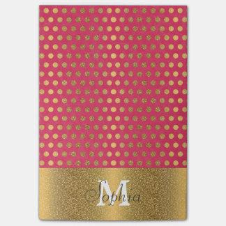Cute trendy polka dots faux gold glitter pattern post-it notes