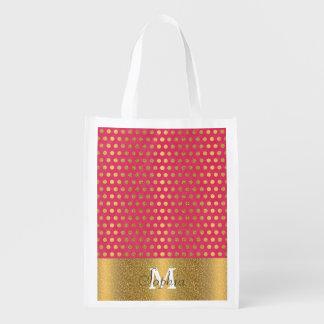 Cute trendy polka dots faux gold glitter pattern