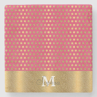 Cute trendy polka dots faux gold glitter pattern stone beverage coaster
