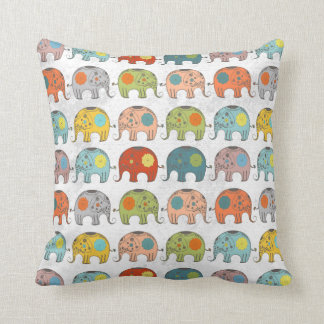 cute trendy retro floral circus Indian elephant Cushion
