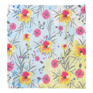 Cute trendy tropical floral paint watercolors bandana