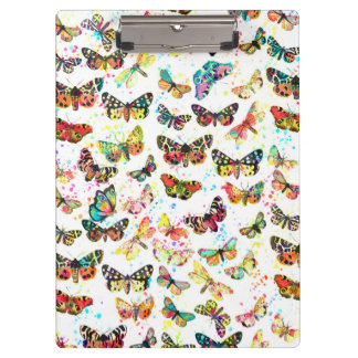 Cute trendy watercolor splatters butterflies clipboard