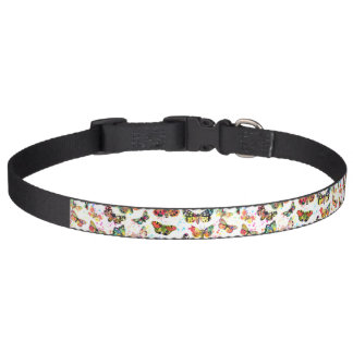 Cute trendy watercolor splatters butterflies pet collar