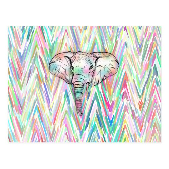 Cute Tribal Elephant Sketch Pastel Chevron Postcard