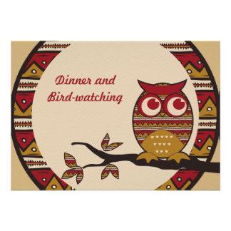 Cute Tribal Pattern Owl Branch Moon Leaves Ethnic Custom Invite