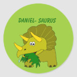 Cute Triceratops Custom Name Dinosaur Cool Kids Round Stickers