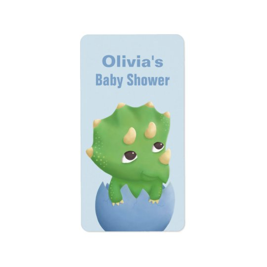 Cute Triceratops Dinosaur Baby Shower Label