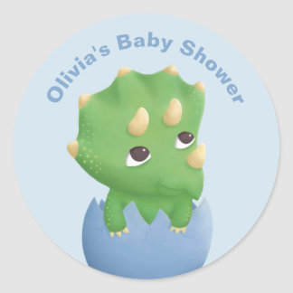 Cute Triceratops Dinosaur Baby Shower Sticker