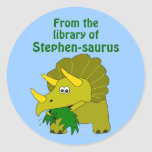Cute Triceratops Dinosaur Personalised Bookplate Round Sticker