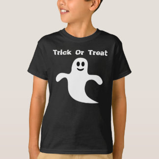 Cute Trick Or Treat Smiling Ghost Black Tee Shirt