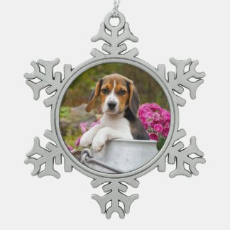Cute Tricolor Beagle Dog Puppy in a Milk Churn ** Snowflake Pewter Christmas Ornament