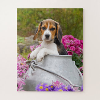 Cute Tricolor Beagle Dog Puppy Pet in a Milk Churn Jigsaw Puzzle