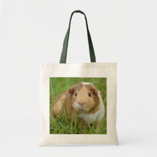 Cute Tricolor Guinea Pig in Green Grass Tote Bag