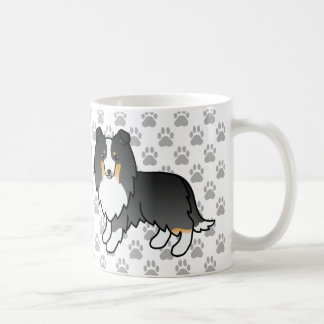 Cute Tricolor Sheltie Dogs And Grey Paws Coffee Mug