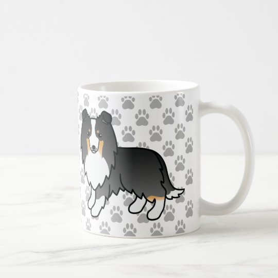 Cute Tricolor Sheltie Dogs And Grey Paws Coffee