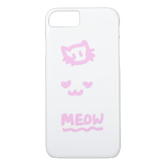 Cute Trio kitten sketch pink iPhone 7 Case
