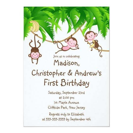 Cute Triplets Monkey Birthday Party Invitations