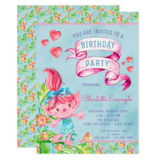 Cute Troll Birthday Party Invitations